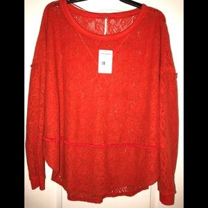 NWT red Free People sweater